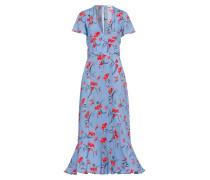 Volant Kleid mit Blumenprint Kobaltblau