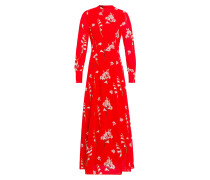 Maxi Kleid mit Blumenprint Hellrot