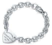 Armband mit mittelgroßem Herzanhänger in Sterlingsilber