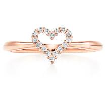 Herzring in 18 Karat Roségold mit Diamanten
