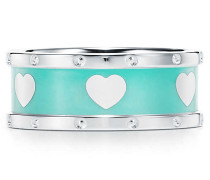 Return to Tiffany™ Love schmaler Herzring in Sterlingsilber mit Emaille