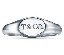 Tiffany & Co® schmaler ovaler Siegelring in Weißgold mit Diamanten
