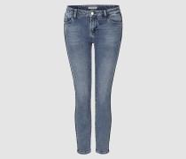 Midi-Jeans mit Zierpaspel