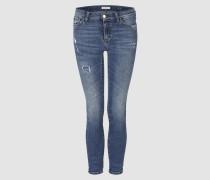 Midi-Jeans mit Destroy-Elementen