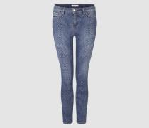 Midi-Jeans im Schlangen-Look