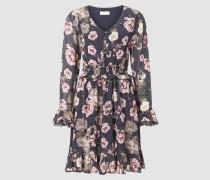 Kleid mit Blumen-Druck & Rüsche