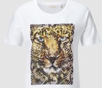 T-Shirt mit Tiger-Print und Strass
