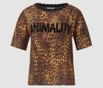 T-Shirt mit Animality-Print und Strass-Statement