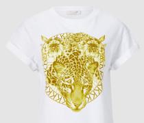 T-Shirt mit monochromem Leo-Print