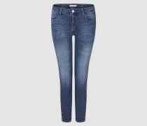 Midi Jeans mit Leopard-Tape