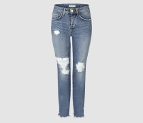 Cropped Relaxed Jeans im Destroyed-Look