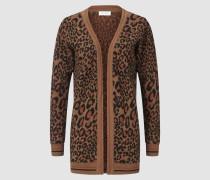 Strickjacke mit Leoparden-Muster