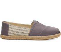 Graue Canvas Striped Espadrilles