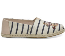 Weiß/Pink Embroidery Striped Classics