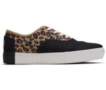 Beige Leopard Canvas Cordones Sneakers