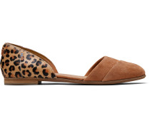Braune Suede Leopard Print Jutti D'Orsay Ballerinas