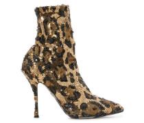 Leopardenstiefeletten im Sockenstil