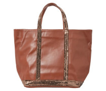 Mittelgroße Einkaufstasche aus Leder mit Pailletten