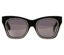 Katzenaugen-Sonnenbrille in Acetat und Kristall und Metall