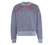 Sweatshirt Curved Logo mit Washed-Effekt