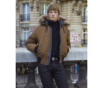 Short nylon down jacket with hood