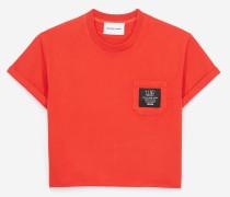 damen-t-shirt mit patch und stickerei red
