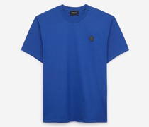 Baumwoll-T-Shirt mit Leder-Badge
