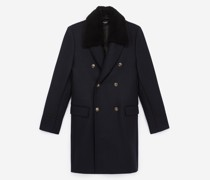 blue wool coat with buttons