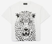 designer-t-shirt aus baumwolle mit tigerprint roh