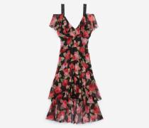langes kleid mit print mit blumenmotiv