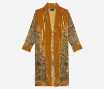 Velours-Kimono mit Motiven in