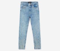 verwaschene vintage-jeans mit strass turquoise melange /orange