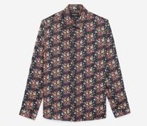 Langes Slim-Fit-Hemd in Nacht aus Viskose