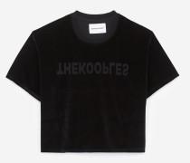 samt-t-shirt mit kurzen ärmeln
