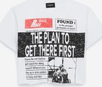 t-shirt aus baumwolle mit newspaper-print whi
