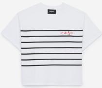 weites t-shirt mit stickerei mit streifen