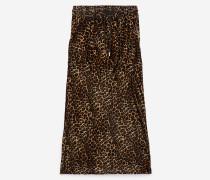 maxirock aus seide mit safari leo-print leopard