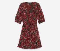 Bedrucktes Kleid mit Schulterpolstern