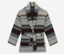 Manteau hiver court laine imprimée
