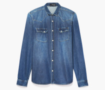 denim-hemd mit used-effekt blue
