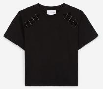 Baumwoll-T-Shirt mit Piercingleiste