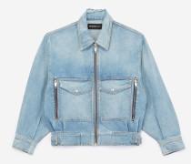 jeans-blouson mit oversize-taschen blu
