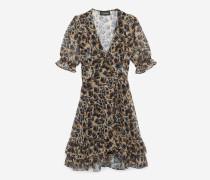 kurzes kleid mit print mit leopardenmotiv bei