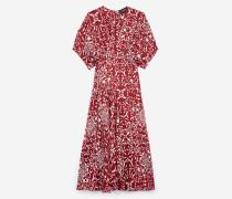 langes kleid aus seide mit print fließend red