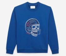 strahlend besticktes sweatshirt blu