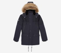 Blue short parka with hood