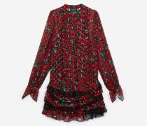 langärmliges kleid aus seidenchiffon mit giant poppy-print