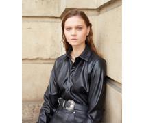 Chemise longue habillée similicuir noir