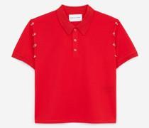 Baumwoll-Poloshirt mit Piercing-Details