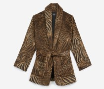 Kurzer Leopardenmantel aus Wolle mit Gürtel